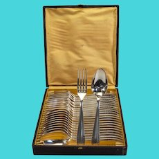 Art Deco boxed set silvered metal couvert- 24 pieces