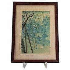 Hazy Evening at Shinobatsu Pond  by Kasamatsu Shiro - woodblock in colors 1932