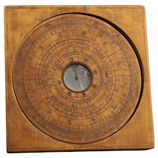 "Chinese Wooden Loupan Feng Shui Compass, 6""x6"""