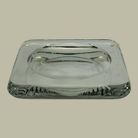 "Jean Luce carved clear geometric glass dish, 9.5"" x 1"""