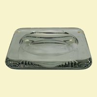 "Jean Luce carved clear geometric glass dish, 9.5"" x 1"""