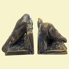 "Pair Rookwood rook bookends 6"" x 6""x 6"""