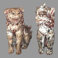 "Pair large antique Koma-Inu, Japanese lion-dogs, temple guardians, 26""x13""x23"""