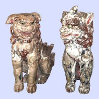 "Pair large antique Koma-Inu, Japanese lion-dogs, temple guardians, 26""x13""x23"""
