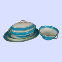 Four Fine Late Victorian Blue And White Mintons Serving Pieces Dated 1892