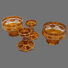Antique Moser gilt amber glass table setting