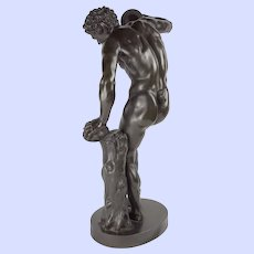 The Dancing Faun-bronze figure after model by Isaak Duchemin, 19th c.