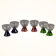 Set of 6 cordials with pastel bases
