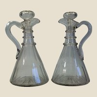 """Pair of English Magnum Ship Decanters, 11 ½"""" tall"""