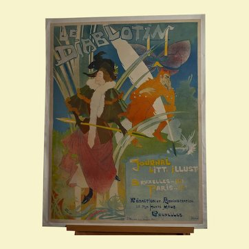 "French Belle Epoque Lithographic Poster ""Le Diablotin"" by George de Feure 1892"