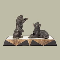 """French Art Deco Bronze Group of Puppies at Play 11"""" tall, 19.5"""" wide, 5.25"""" deep"""