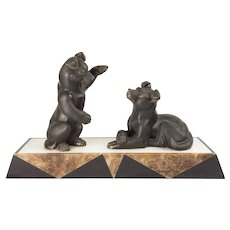 French Art Deco Patinated Bronze And Marble Group Puppies at Play