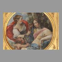 "Old Master Painting Oil On Copper Depicting Vanity, 8"" diameter"
