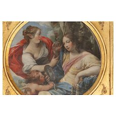 "Old Master Painting Oil On Copper Depicting Vanity, 8"" diameter"