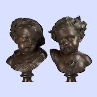 """Very Large Bronze Busts of Summer & Autumn by Le Broc, 21""""x10"""""""