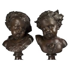 Bronze Busts of Summer & Autumn by Jean Baptiste Le Broc, circa 1860