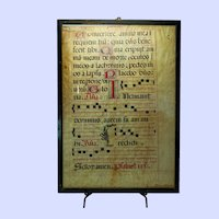 "Vellum Leaf of Antiphonary 24""x17"""