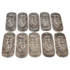 Set of 10 Victorian Silverplated Push Plates with Cherubs