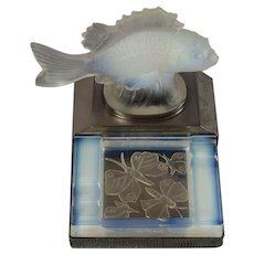 Sabino style pale blue opalescent glass fish & butterfly ashtray