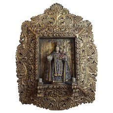Decorative retalbo of Mary and the Christ Child with candle arms