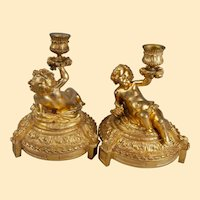"""Pair French c. 1880 Gilt Bronze Candlesticks With Putti - 8.5"""" x  7"""""""