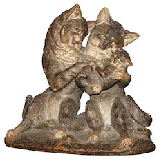 Large Vienna Painted Terracotta of Affectionate Cat Family