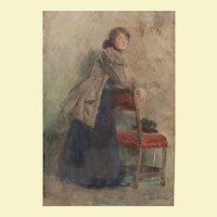 "Portrait of Standing Lady, by Skarbina, c. 1900, 17""x11"""