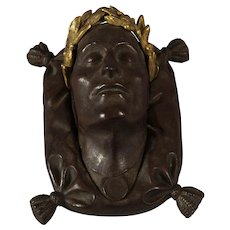 19th c. Bronze Paperweight of Napoleon's Death Mask