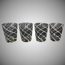 Set of 4 Murano Glass Latticino Water/Wine Tumblers