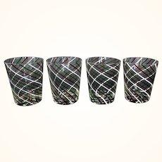 Set of 4 Murano Glass Latticino Water/Wine Tumblers