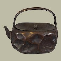 Antique Asian Hammered Copper and lacquer Tea Pot