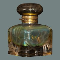"Rare Moser Intaglio Uranium Glass Inkwell - 5.5"" x 3.5"""
