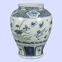 "Japanese Edo blue and white baluster vase / water lily decoration - 16.5""x 12"""