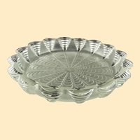 """R. Lalique Art Deco large frosted scalloped low bowl - 13"""" diameter"""