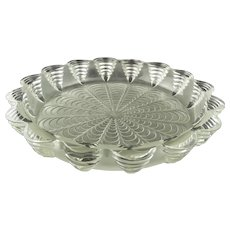 R.Lalique large frosted scalloped low bowl