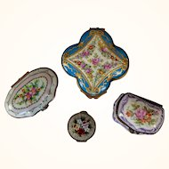 Four Porcelain and Micro-Mosaic Pin/Pill Boxes
