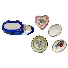 Five Vintage Handpainted Limoges Pin Or Pill Boxes