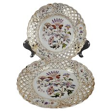 Antique Pair of c. 1900 Dresden Porcelain Hand Painted Reticulated Plates