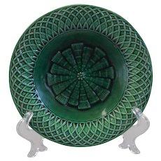 19th c. Minton Majolica  forest-green center tazza