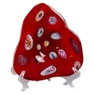An Italian Murano Zanfirico Red Glass Shallow Footed Bowl