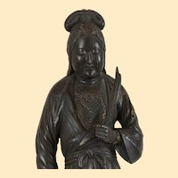 "Japanese black (Kannon) Guanyin Edo - 25"" H x 7 1/2"" x 5"" D"