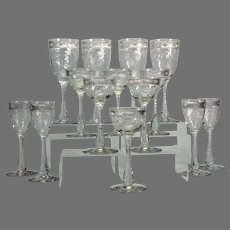 14 Hawkes etched Brilliant Period assorted wine and cordial goblets