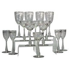 14 Hawkes etched Brilliant Period assorted wine and cordial goblets,