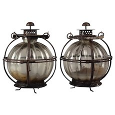 Pair of Antique Candle-burning Perkins Marine Lamps c. 1850 with Mellon-shaped Glass Bowls