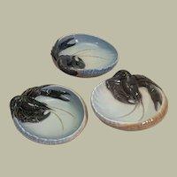 "Three Royal Copenhagen porcelain lobster dishes, 6 1/2"" x 2"""