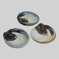 "Three Royal Copenhagen porcelain lobster dishes, 6 1/2"" x 2"""