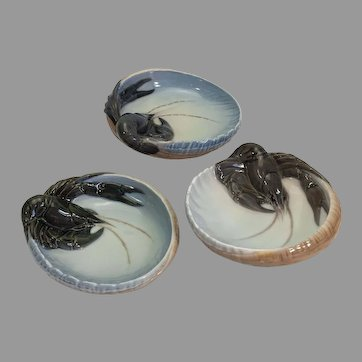 Three Royal Copenhagen porcelain lobster dishes