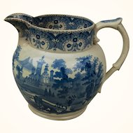 A Victorian English Blue and White Transferware Pitcher c. 1840