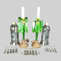 """Pair of Electrified Antique Green Glass Girandoles,  with hurricane shades - 18""""x4.5"""""""