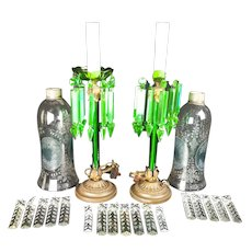 "Pair of Electrified Antique Green Glass Girandoles,  with hurricane shades - 18""x4.5"""